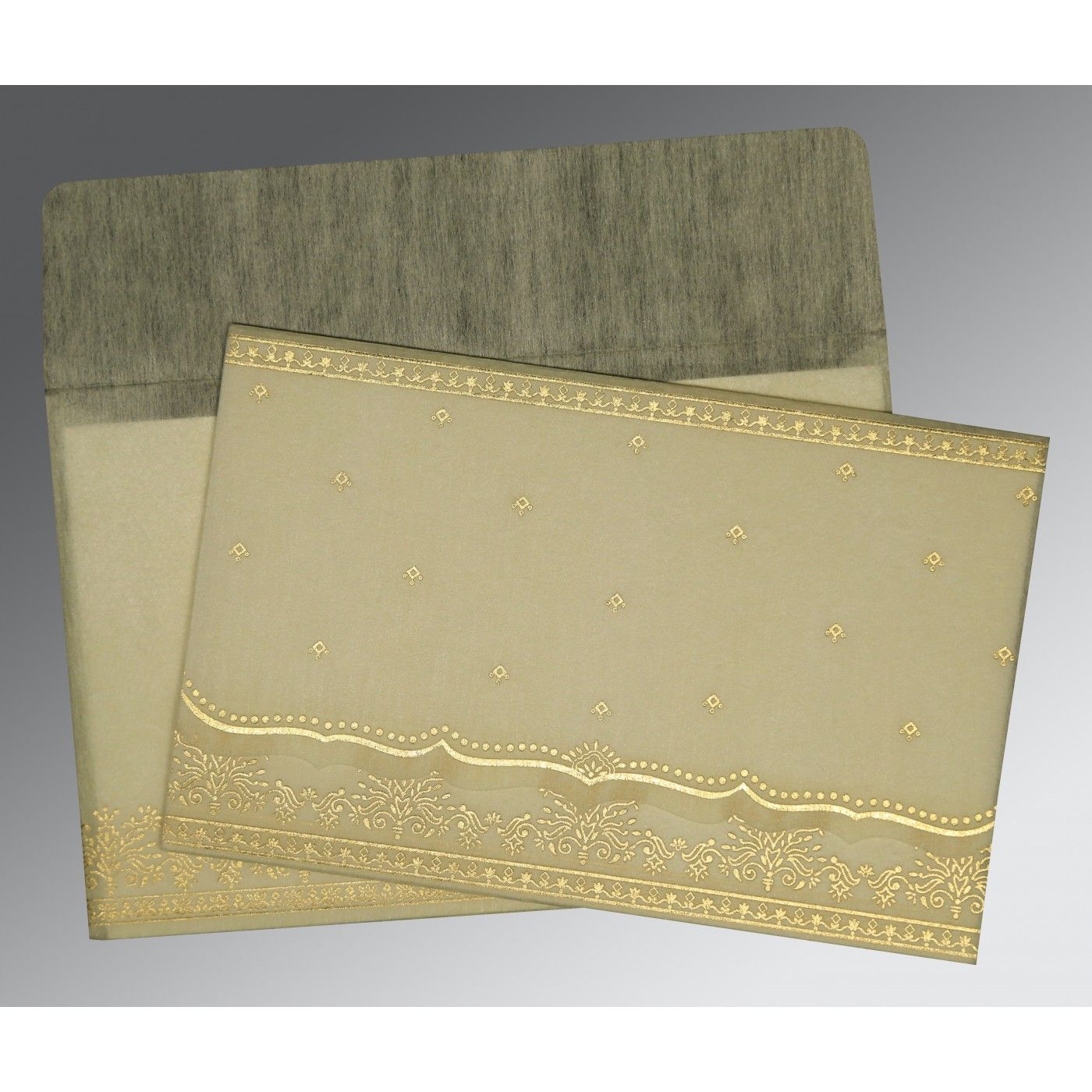 IVORY WOOLY FOIL STAMPED WEDDING INVITATION : CW-8241B - IndianWeddingCards