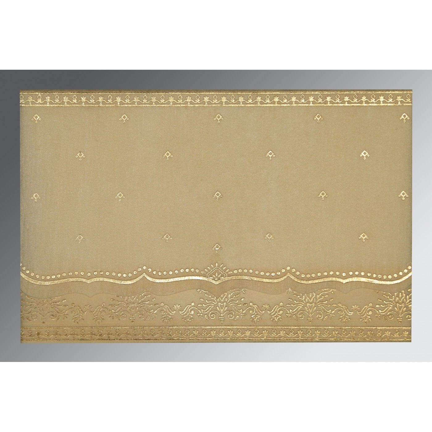 BEIGE WOOLY FOIL STAMPED WEDDING INVITATION : CW-8241F - IndianWeddingCards