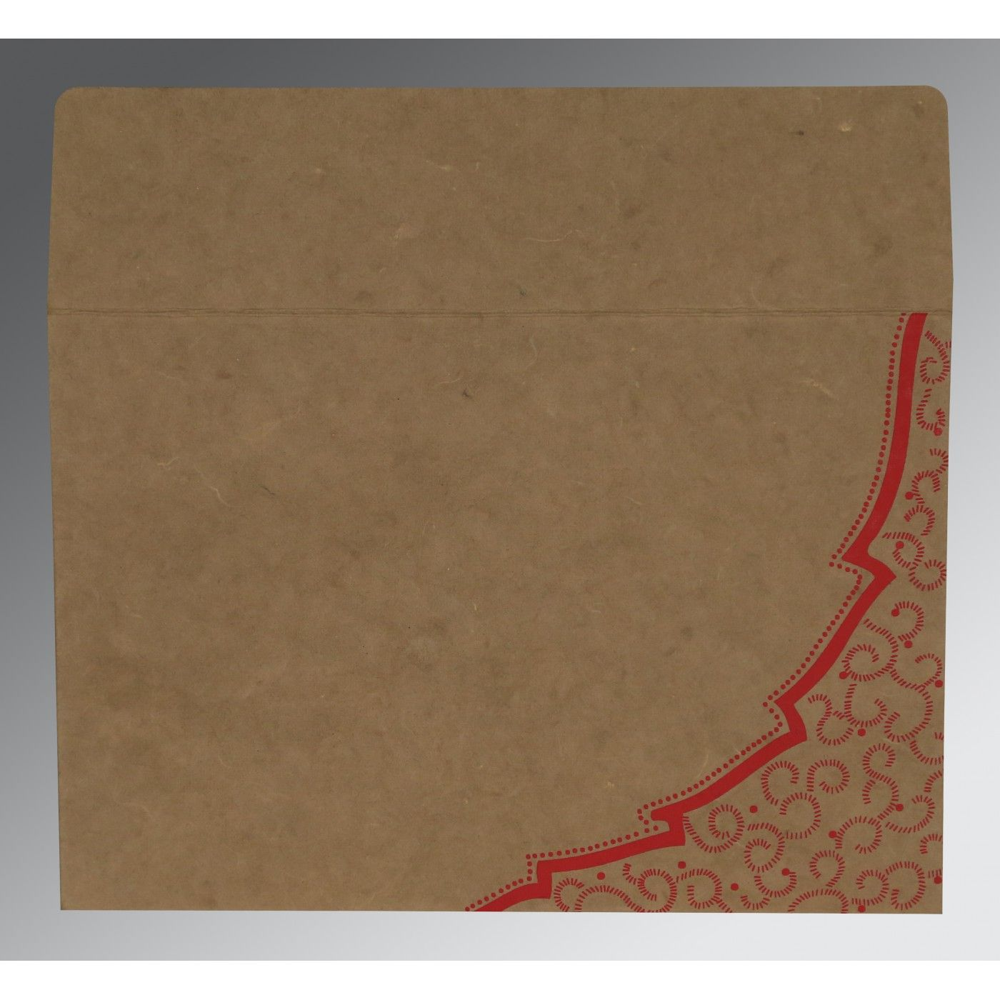 LIGHT BROWN HANDMADE COTTON FLORAL THEMED - FOIL STAMPED WEDDING CARD : CIN-8219Q - IndianWeddingCards