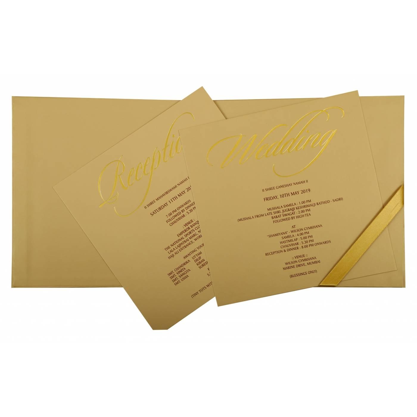 KHAKI MATTE BOX THEMED - EMBOSSED WEDDING INVITATION : CD-1851 - IndianWeddingCards