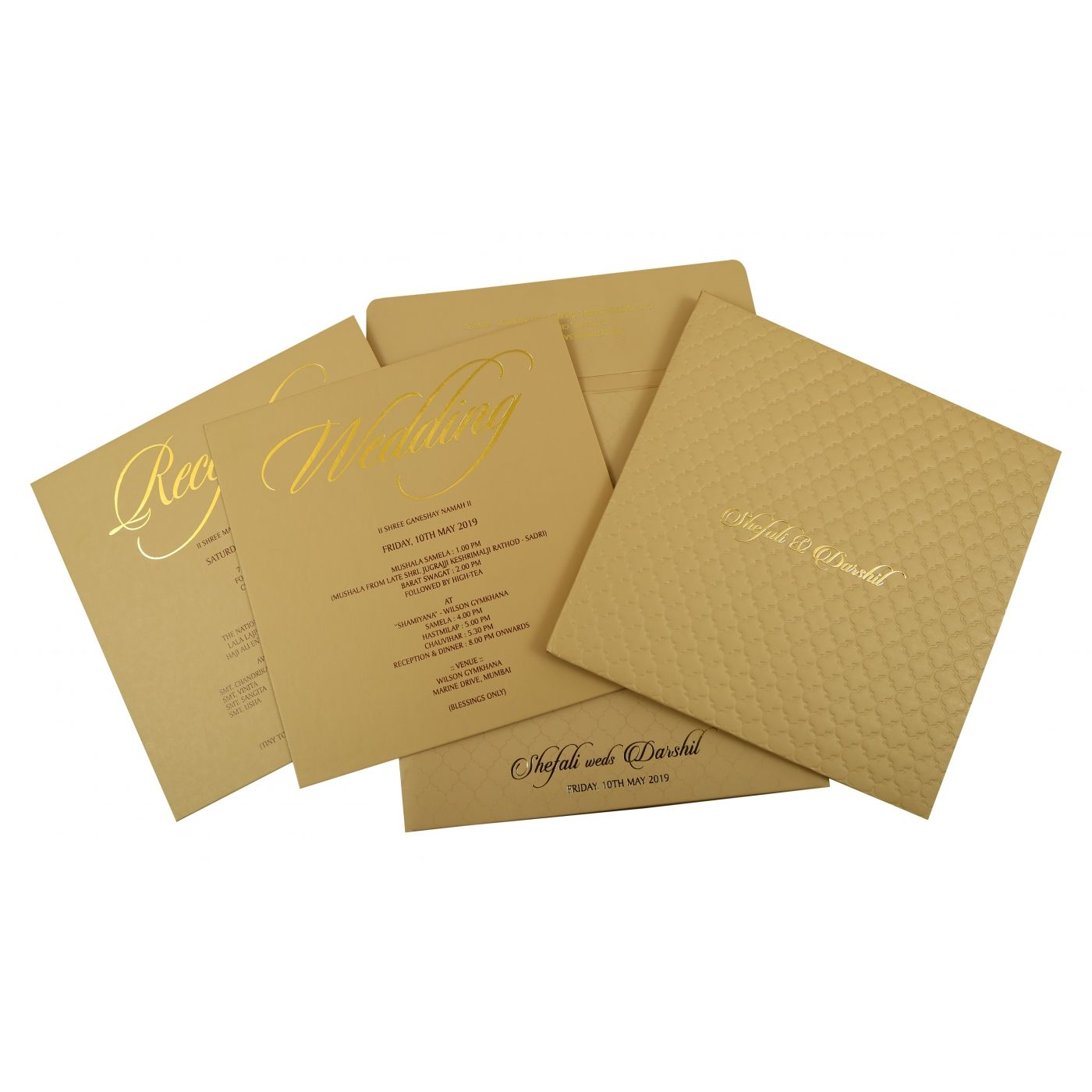KHAKI MATTE BOX THEMED - EMBOSSED WEDDING INVITATION : CIN-1851 - IndianWeddingCards