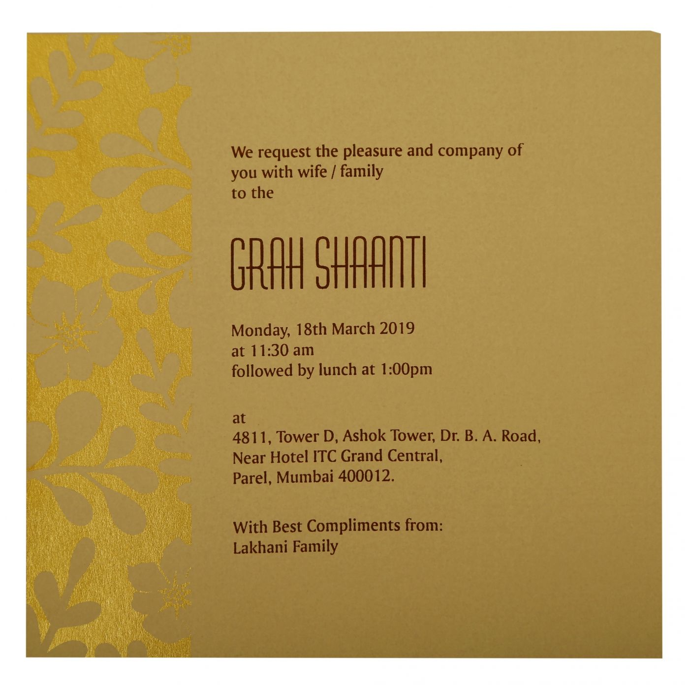 KHAKI MATTE FLORAL THEMED - FOIL STAMPED WEDDING INVITATION : CS-1897 - IndianWeddingCards