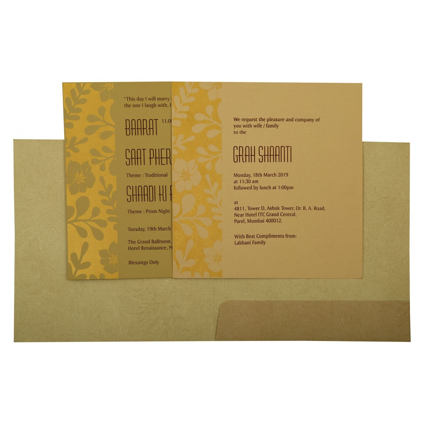 KHAKI MATTE FLORAL THEMED - FOIL STAMPED WEDDING INVITATION : CSO-1897 - IndianWeddingCards