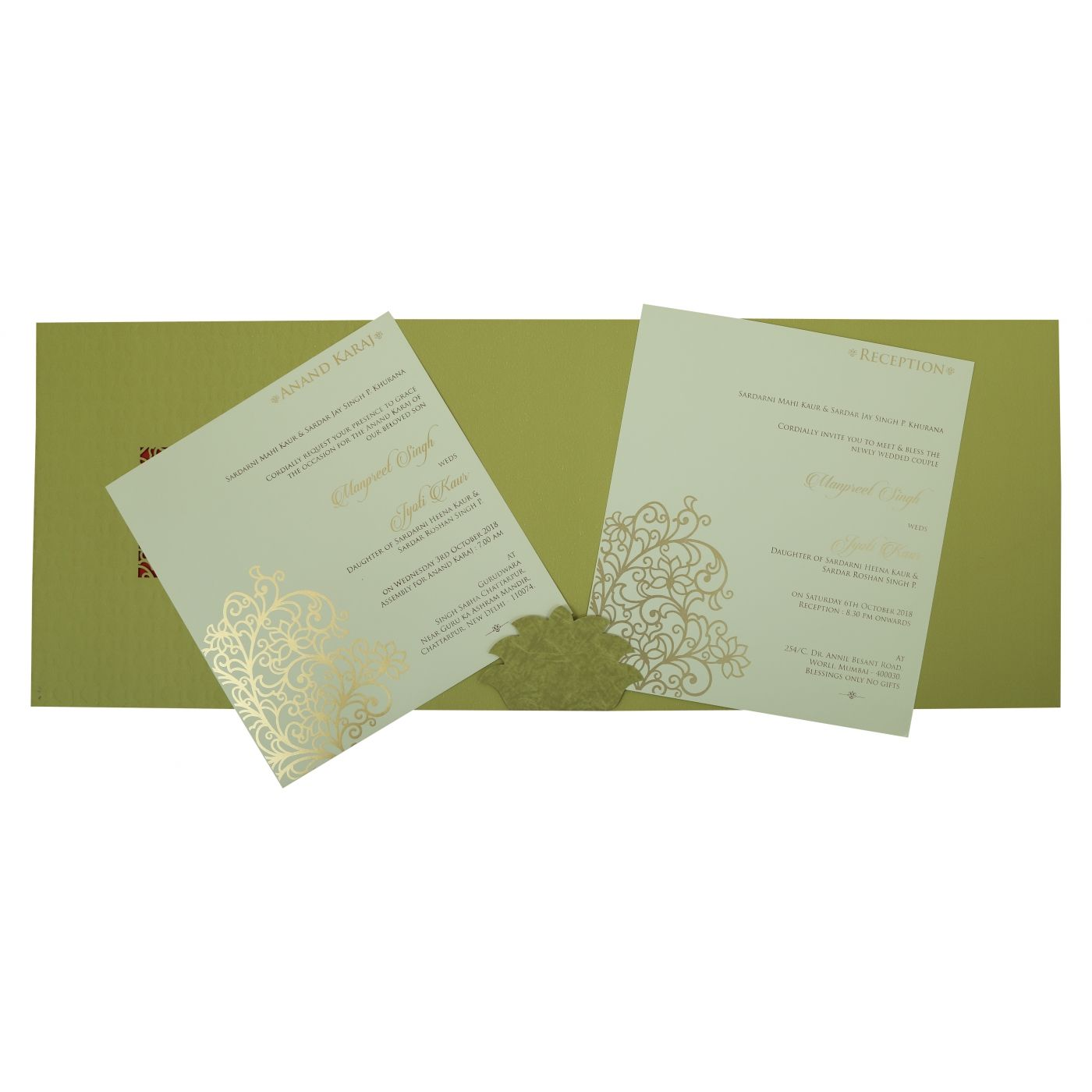 DEEP SAGE MATTE FLORAL THEMED - LASER CUT WEDDING INVITATION : CI-1810 - IndianWeddingCards