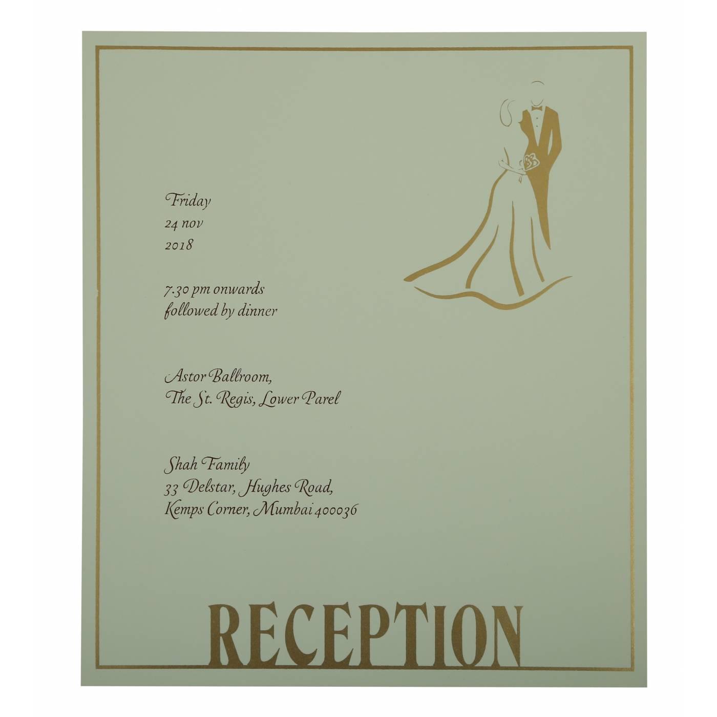OLIVE GREEN MATTE FOIL STAMPED WEDDING INVITATION : CW-1804 - IndianWeddingCards