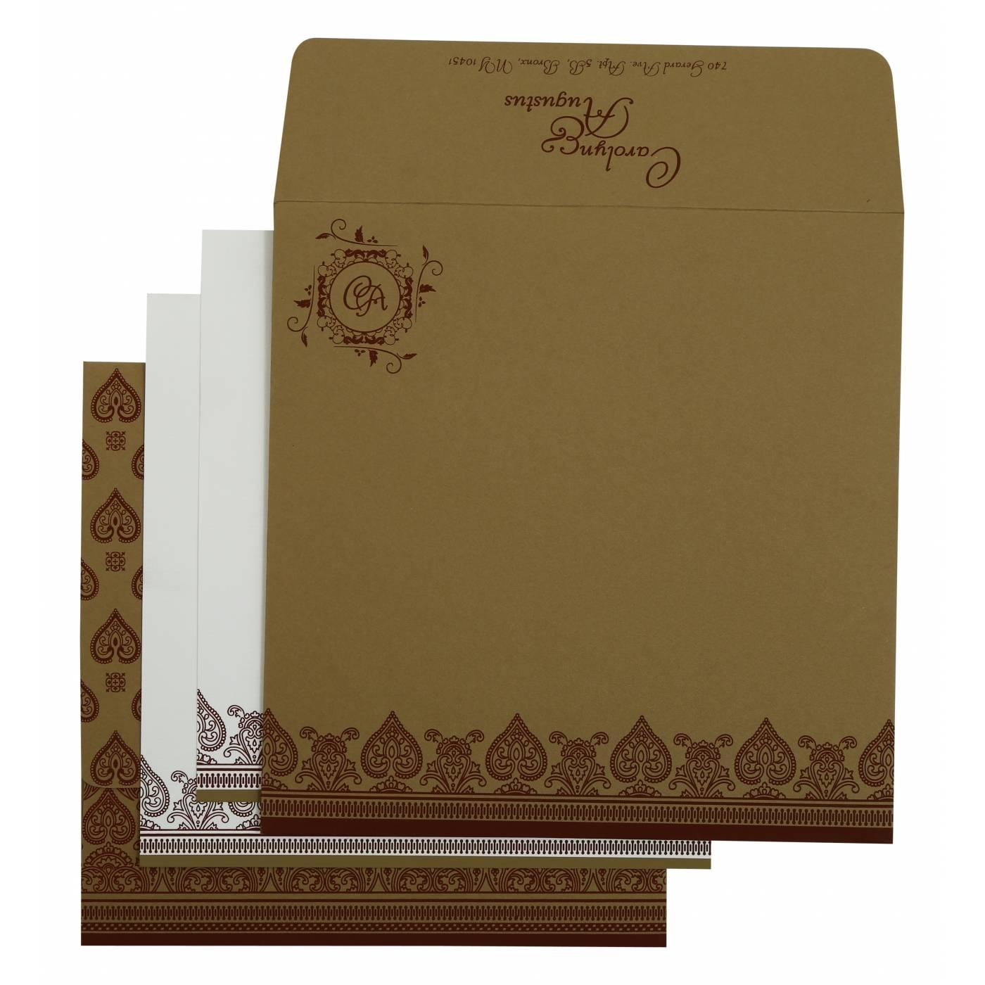 KHAKI MATTE SCREEN PRINTED WEDDING INVITATION : CG-809C - IndianWeddingCards
