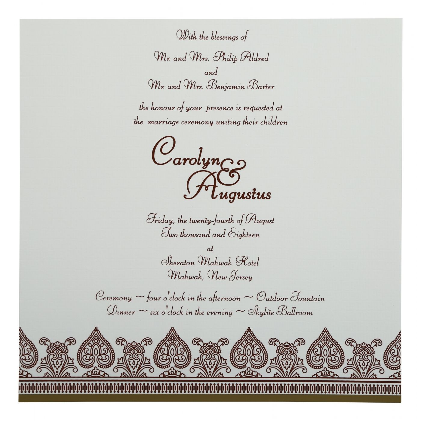 KHAKI MATTE SCREEN PRINTED WEDDING INVITATION : CRU-809C - IndianWeddingCards