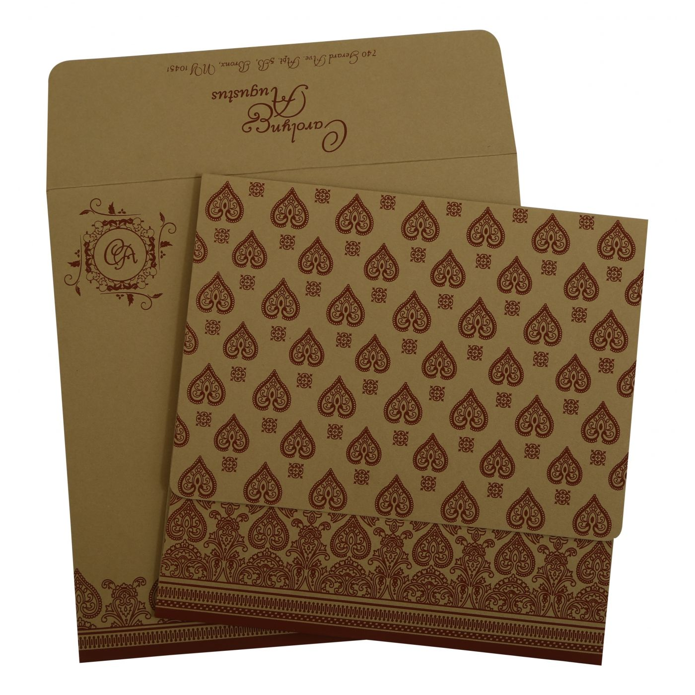 KHAKI MATTE SCREEN PRINTED WEDDING INVITATION : CS-809C - IndianWeddingCards