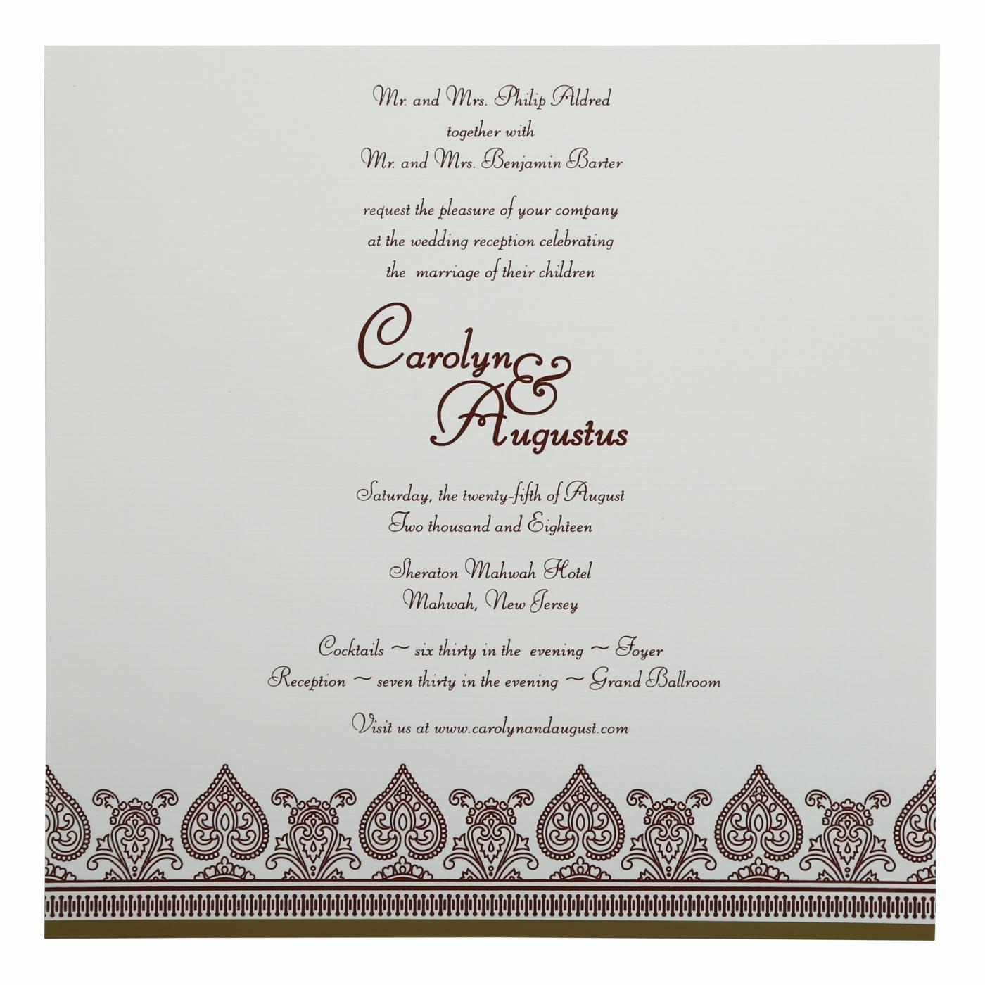 KHAKI MATTE SCREEN PRINTED WEDDING INVITATION : CSO-809C - IndianWeddingCards