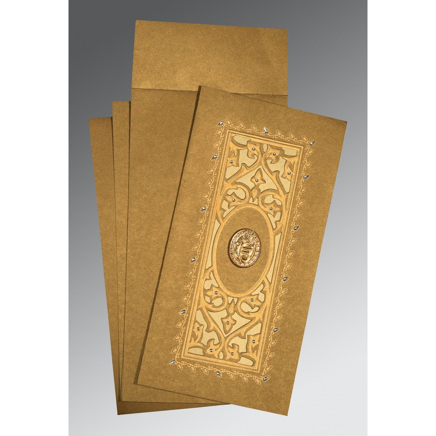 COPPER SHIMMERY EMBOSSED WEDDING CARD : CRU-1440 - IndianWeddingCards