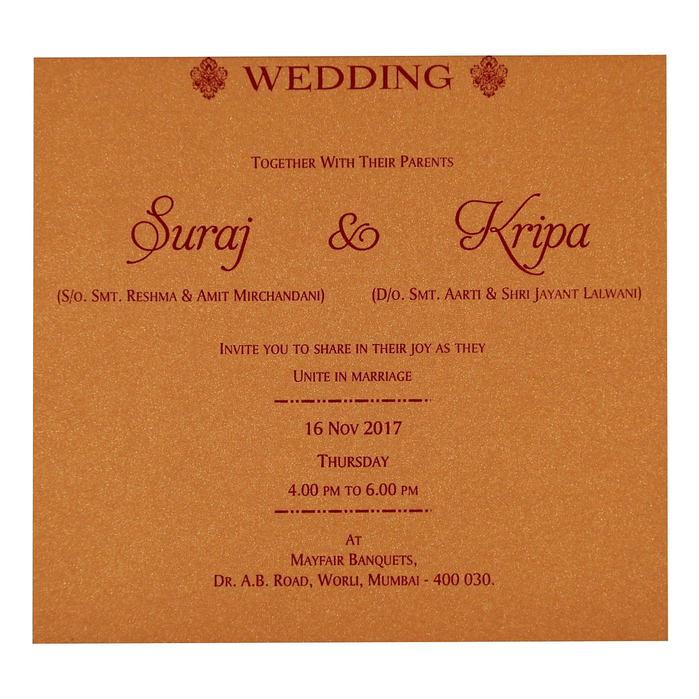 WEDDING CARD : CC-1713 - IndianWeddingCards