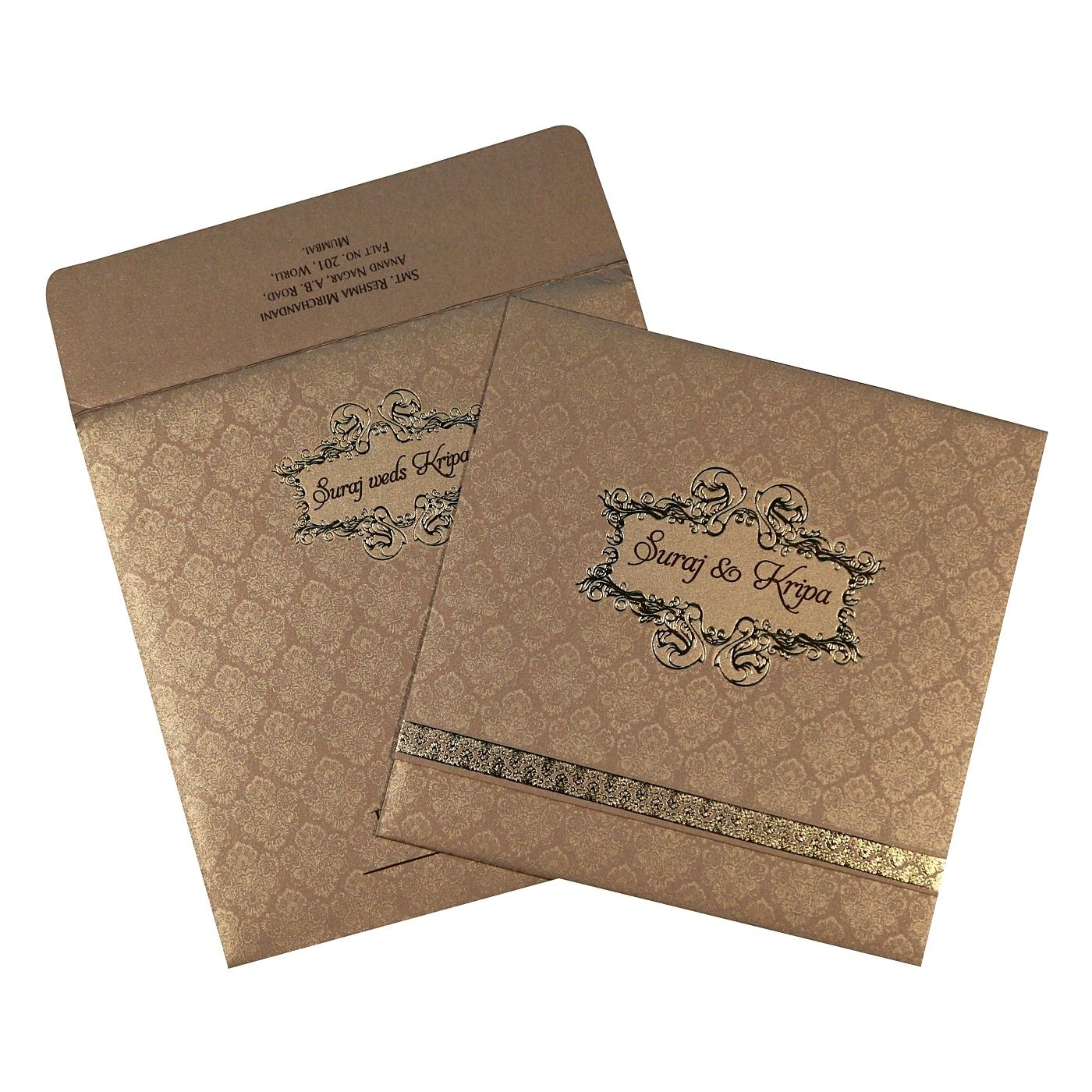 KHAKI SHIMMERY FOIL STAMPED WEDDING CARD : CSO-1713 - IndianWeddingCards