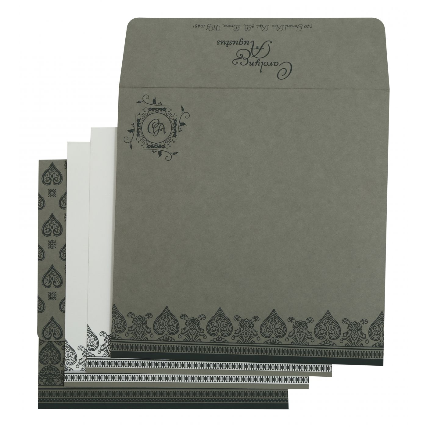 LIGHT GREY MATTE SCREEN PRINTED WEDDING INVITATION : CW-809A - IndianWeddingCards