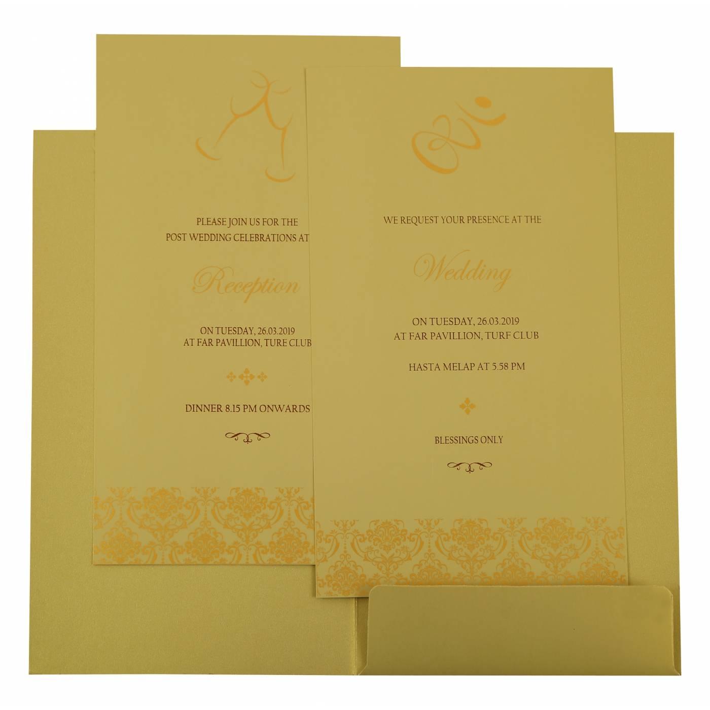 MEHNDI SHIMMERY PAISLEY THEMED - SCREEN PRINTED WEDDING INVITATION : CD-1920 - IndianWeddingCards