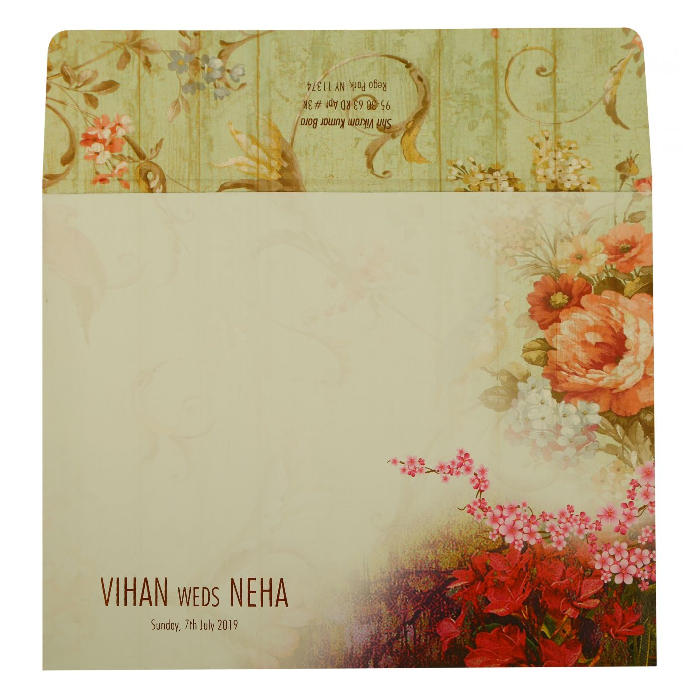 OFF-WHITE MATTE FLORAL THEMED - OFFSET PRINTED WEDDING INVITATION : CD-1932 - IndianWeddingCards