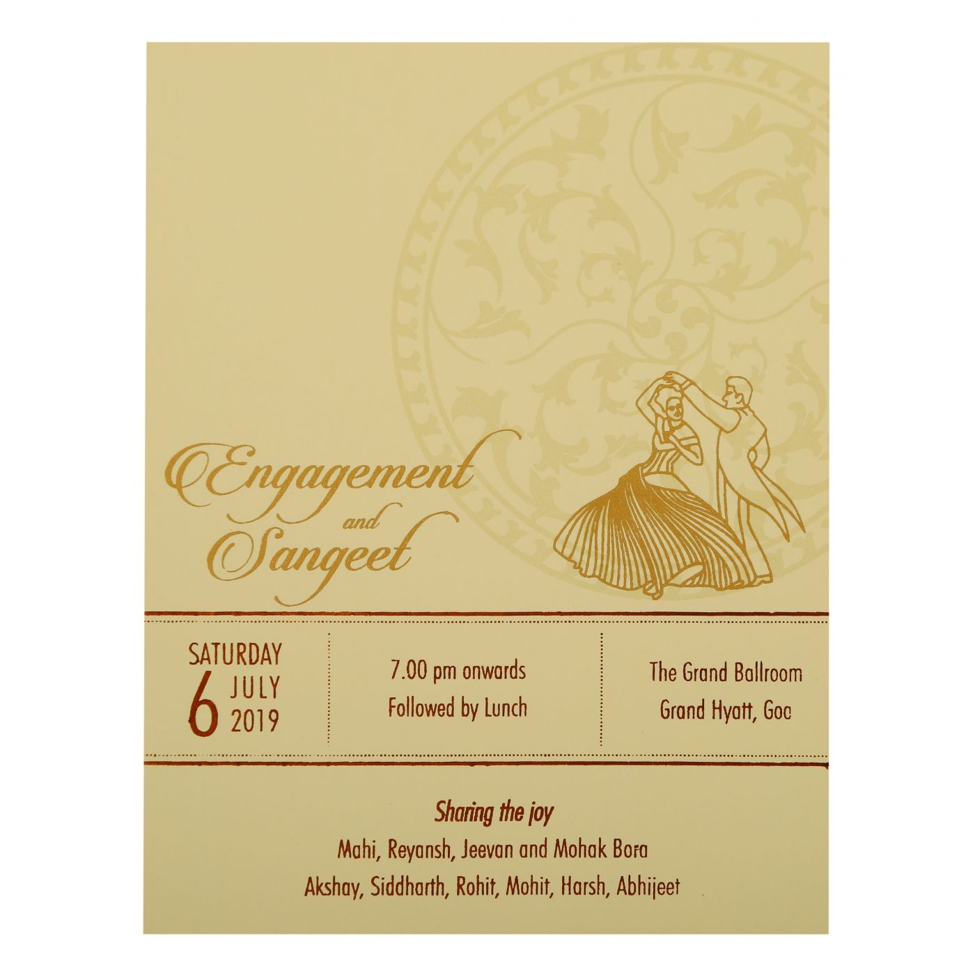 OFF-WHITE MATTE FLORAL THEMED - OFFSET PRINTED WEDDING INVITATION : CS-1932 - IndianWeddingCards