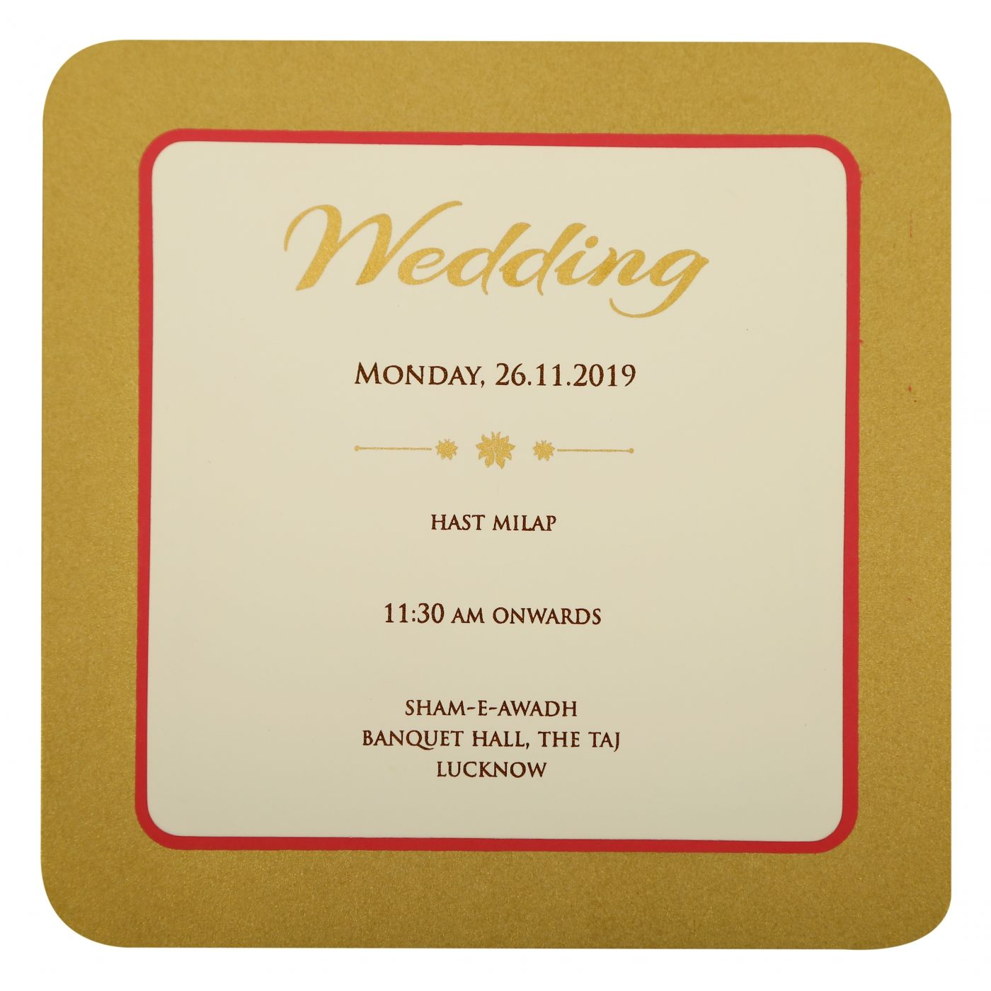 OFF-WHITE MATTE FOIL STAMPED WEDDING INVITATION : CD-1903 - IndianWeddingCards