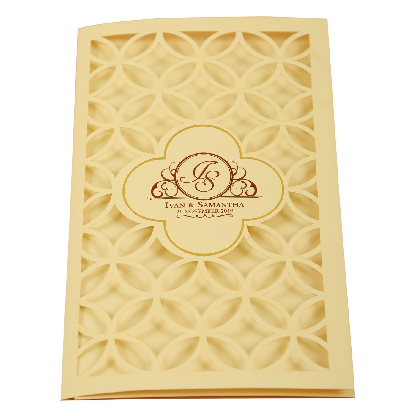 OFF-WHITE MATTE LASER CUT WEDDING INVITATION : CG-1911 - IndianWeddingCards