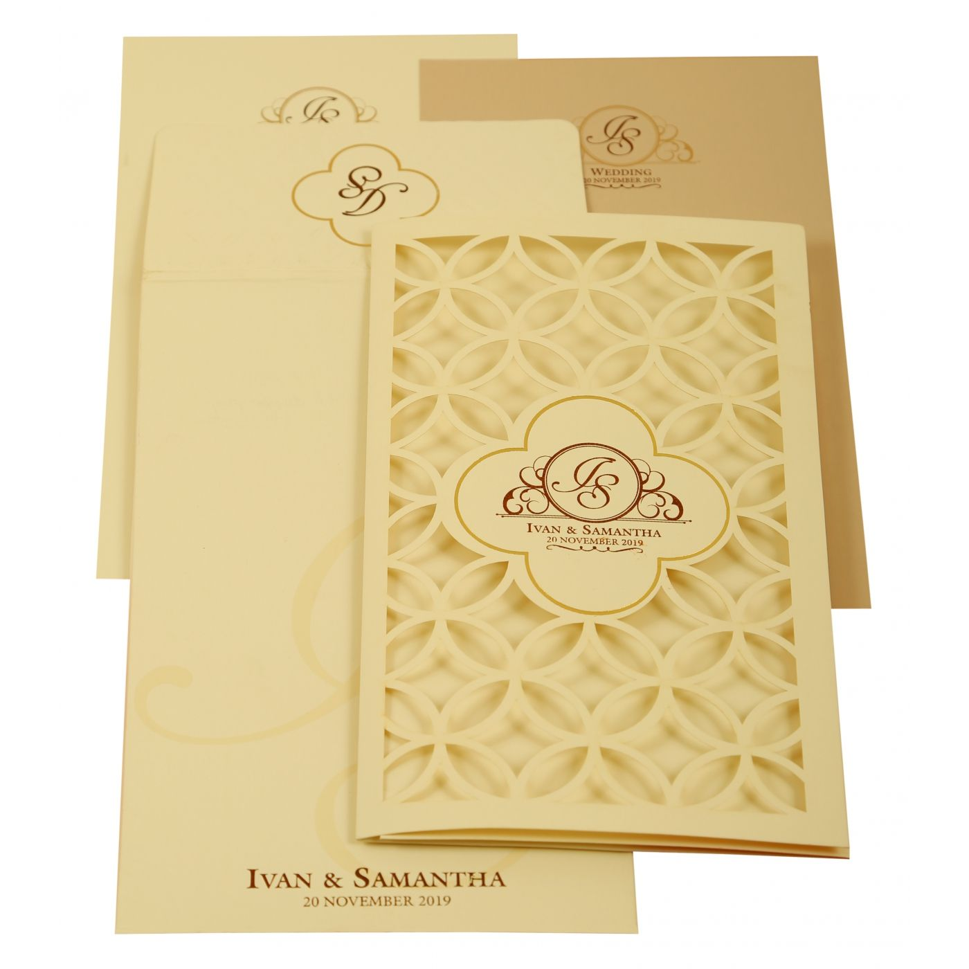 OFF-WHITE MATTE LASER CUT WEDDING INVITATION : CI-1911 - IndianWeddingCards