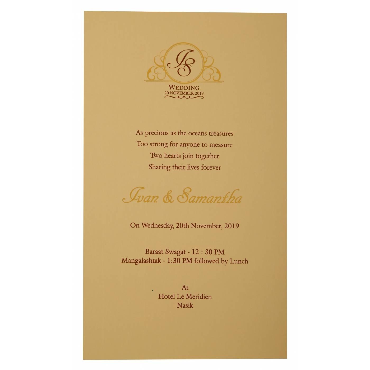 OFF-WHITE MATTE LASER CUT WEDDING INVITATION : CW-1911 - IndianWeddingCards