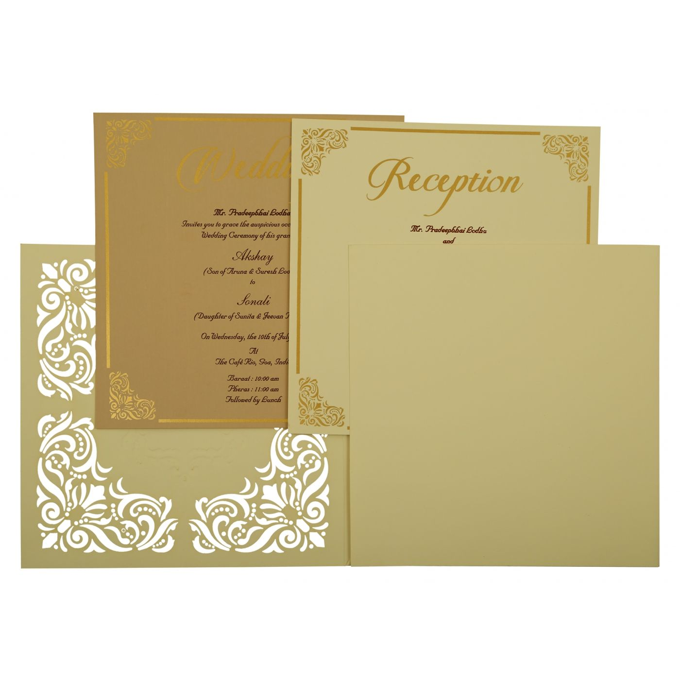 OFF-WHITE MATTE PAISLEY THEMED - LASER CUT WEDDING INVITATION : CIN-1875 - IndianWeddingCards