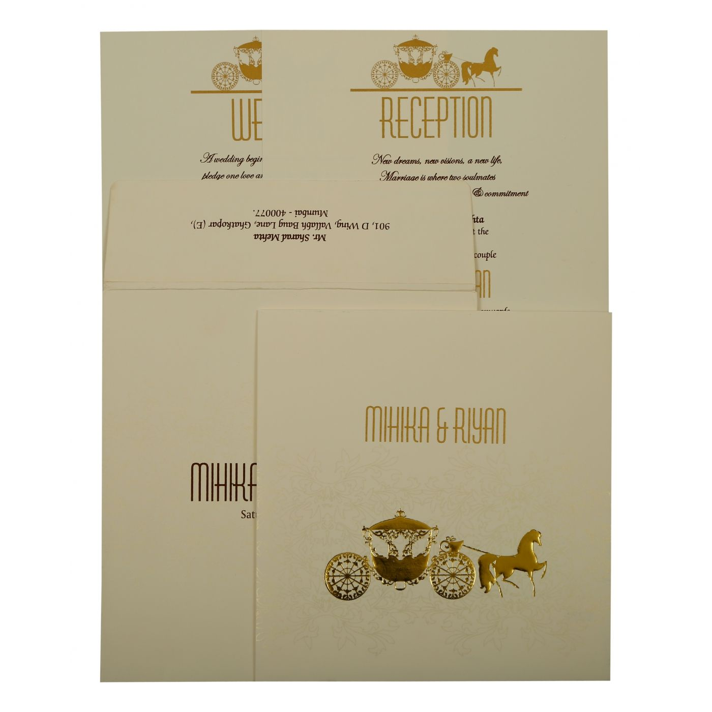 OFF-WHITE MATTE SCREEN PRINTED WEDDING INVITATION : CIN-1896 - IndianWeddingCards