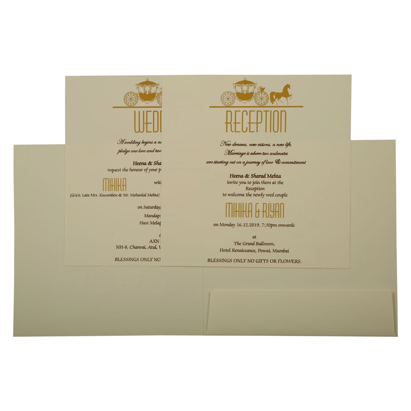 OFF-WHITE MATTE SCREEN PRINTED WEDDING INVITATION : CS-1896 - IndianWeddingCards