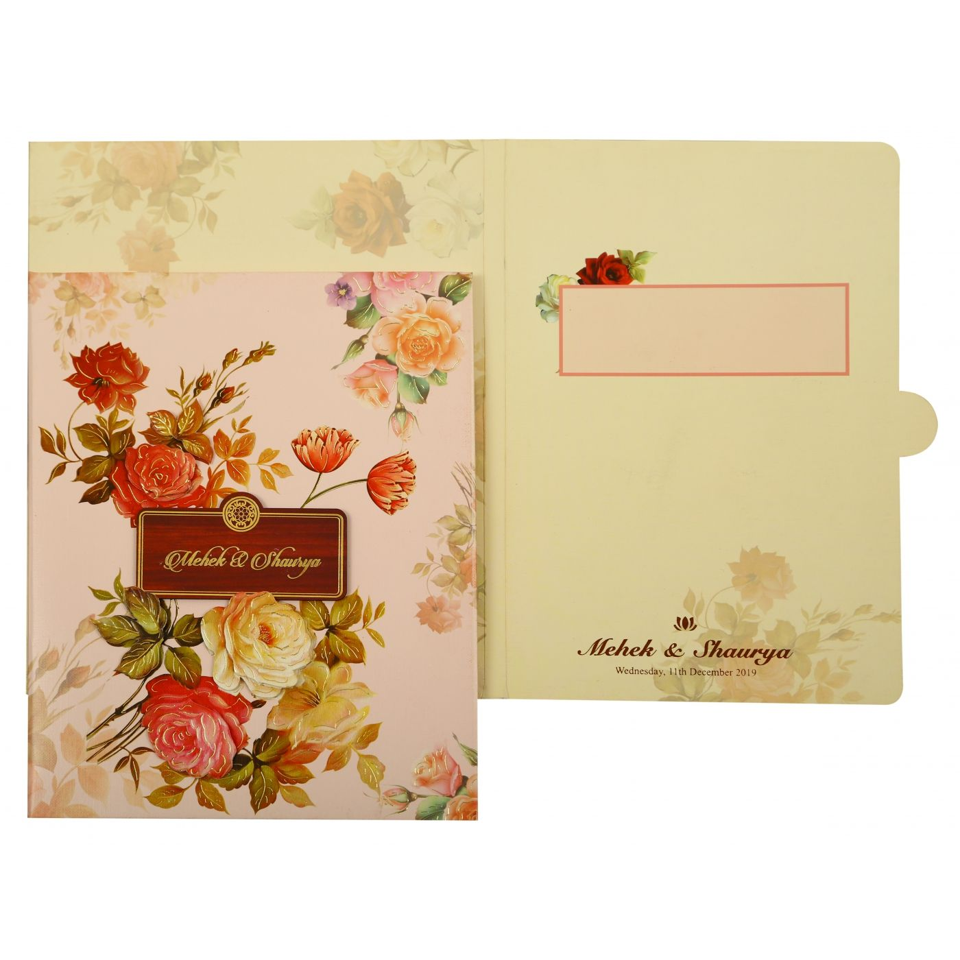 OFF-WHITE SHIMMERY BOX THEMED - FOIL STAMPED WEDDING INVITATION : CG-1865 - IndianWeddingCards