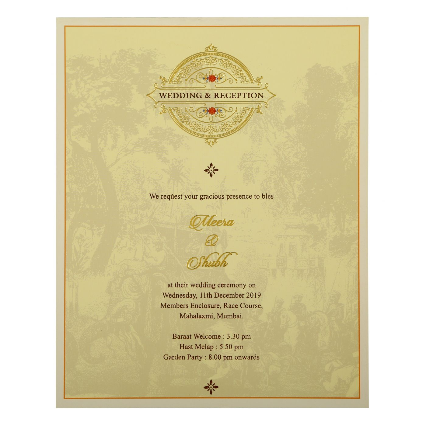 OFF-WHITE SHIMMERY PEACOCK THEMED - FOIL STAMPED WEDDING INVITATION : CD-1866 - IndianWeddingCards