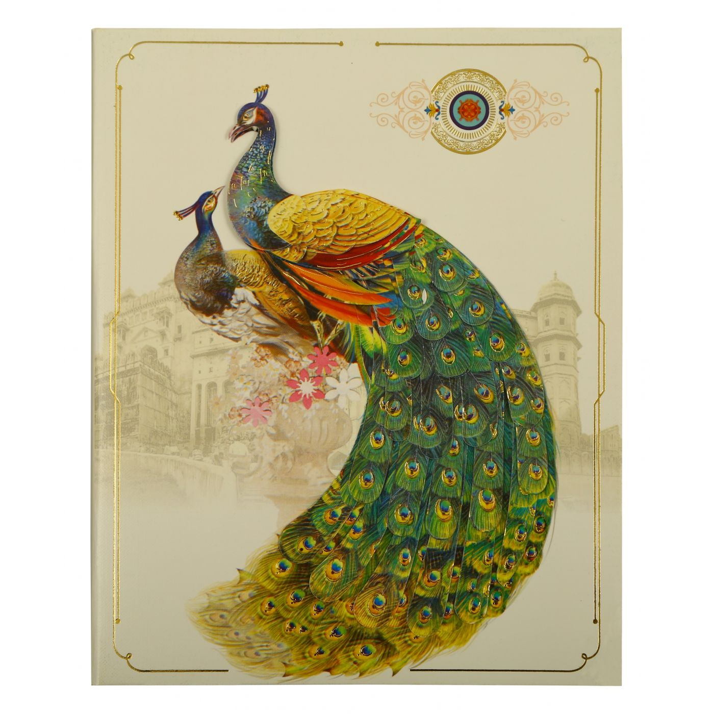 OFF-WHITE SHIMMERY PEACOCK THEMED - FOIL STAMPED WEDDING INVITATION : CI-1866 - IndianWeddingCards