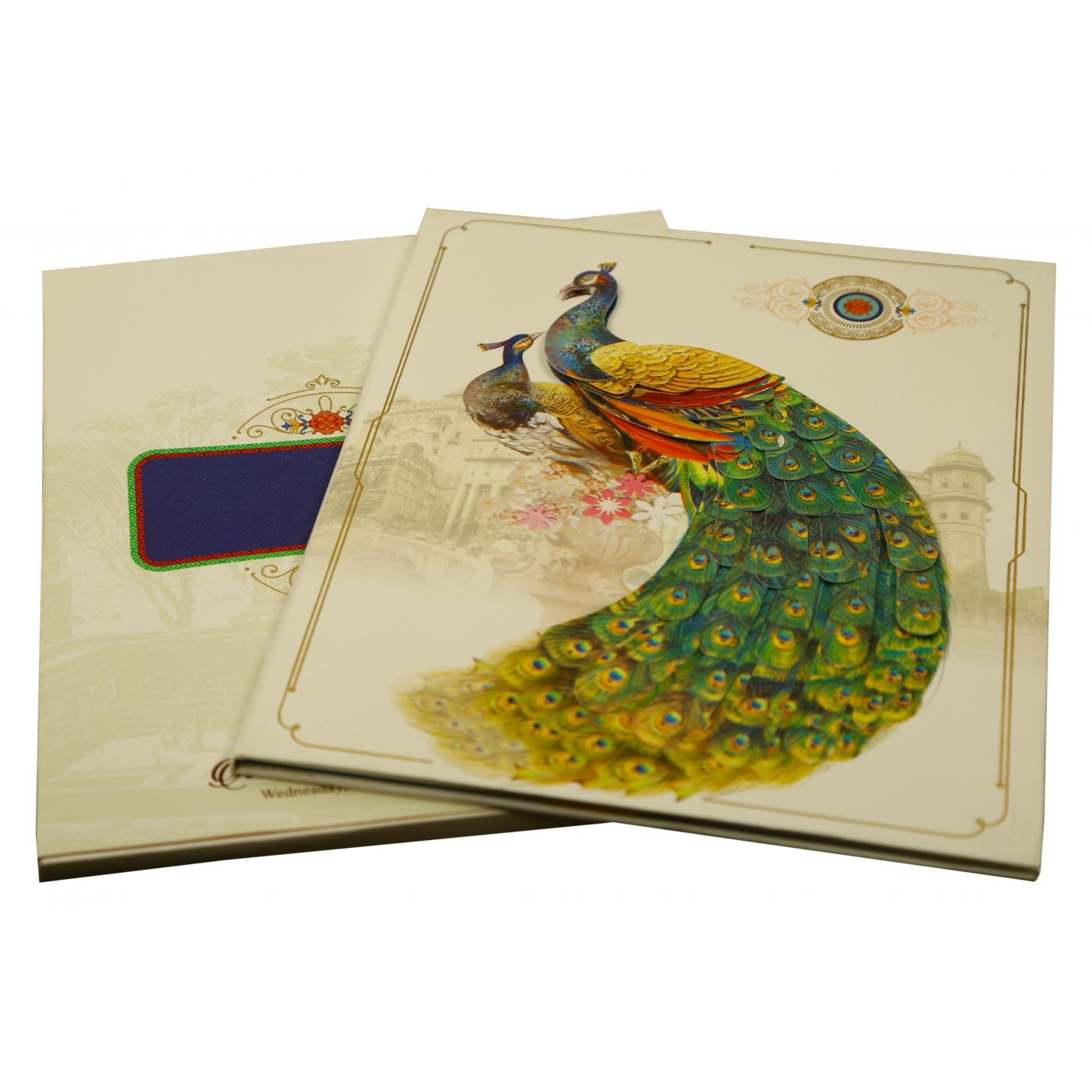 OFF-WHITE SHIMMERY PEACOCK THEMED - FOIL STAMPED WEDDING INVITATION : CIN-1866 - IndianWeddingCards