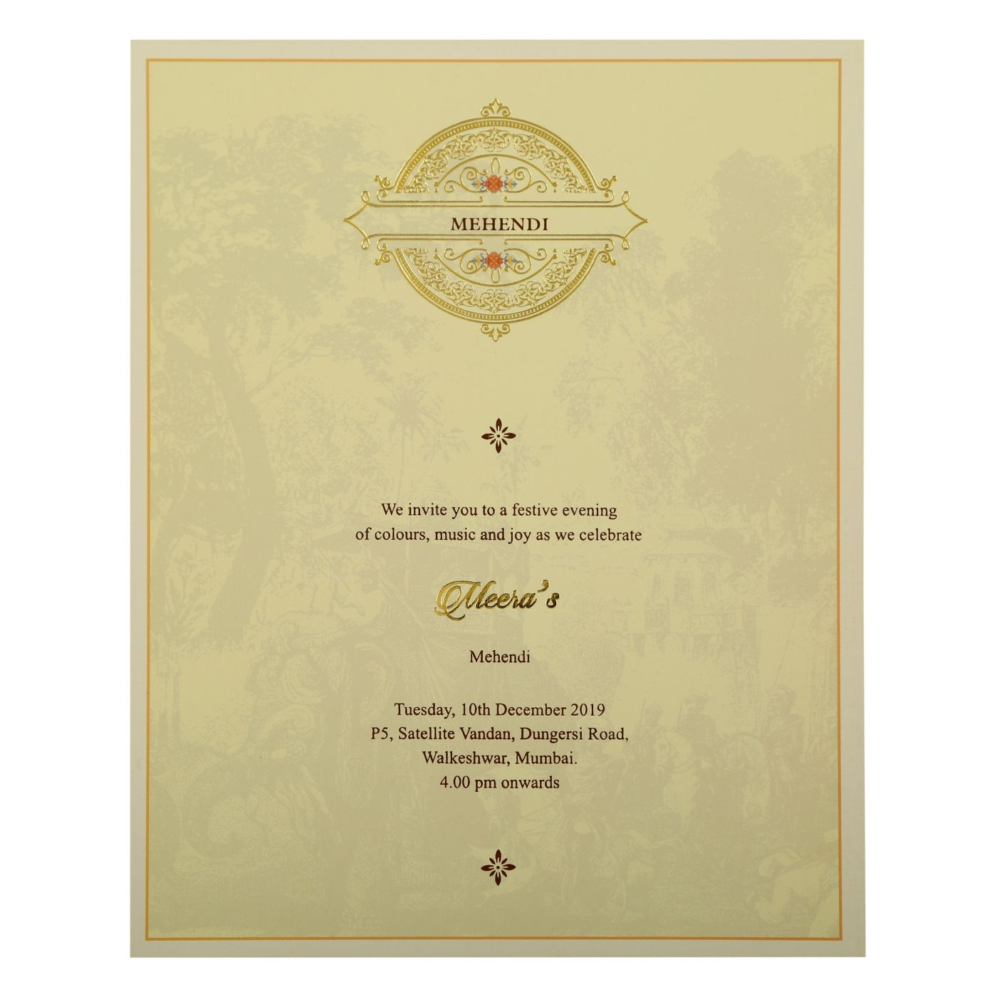 OFF-WHITE SHIMMERY PEACOCK THEMED - FOIL STAMPED WEDDING INVITATION : CS-1866 - IndianWeddingCards