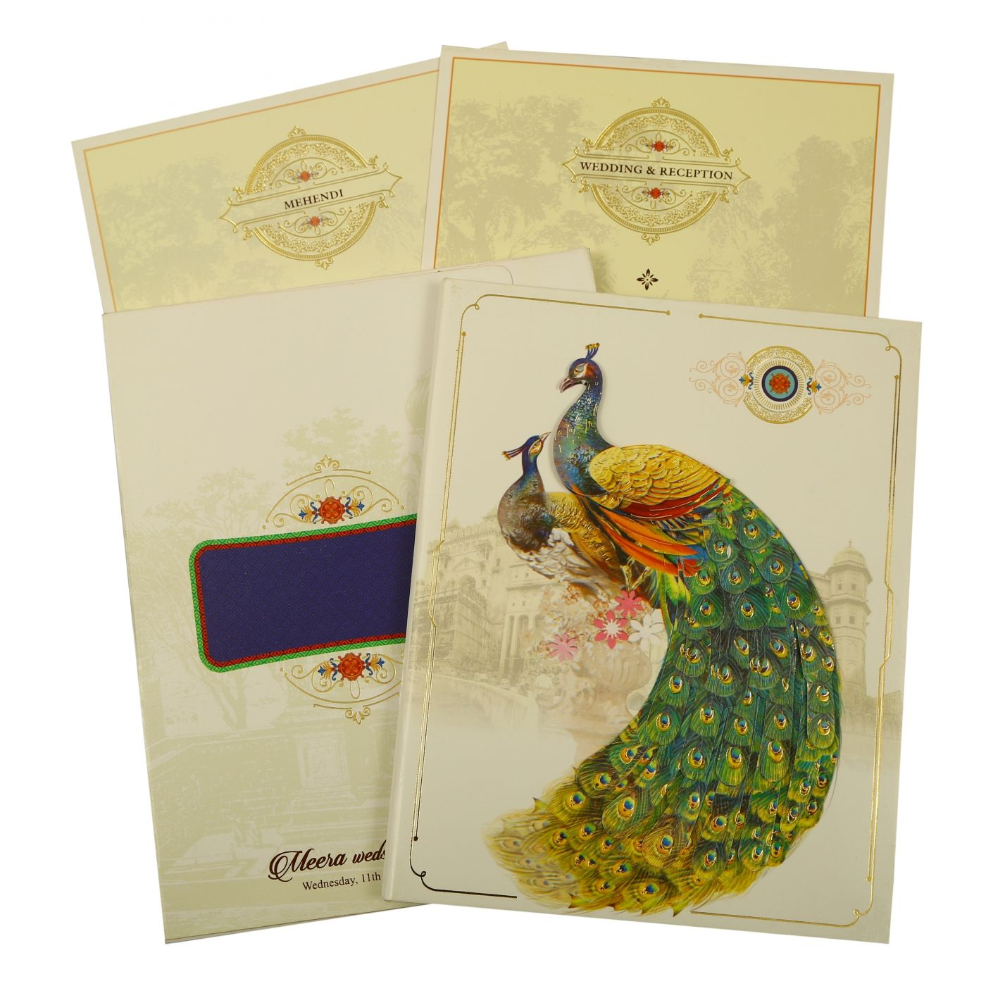 OFF-WHITE SHIMMERY PEACOCK THEMED - FOIL STAMPED WEDDING INVITATION : CW-1866 - IndianWeddingCards