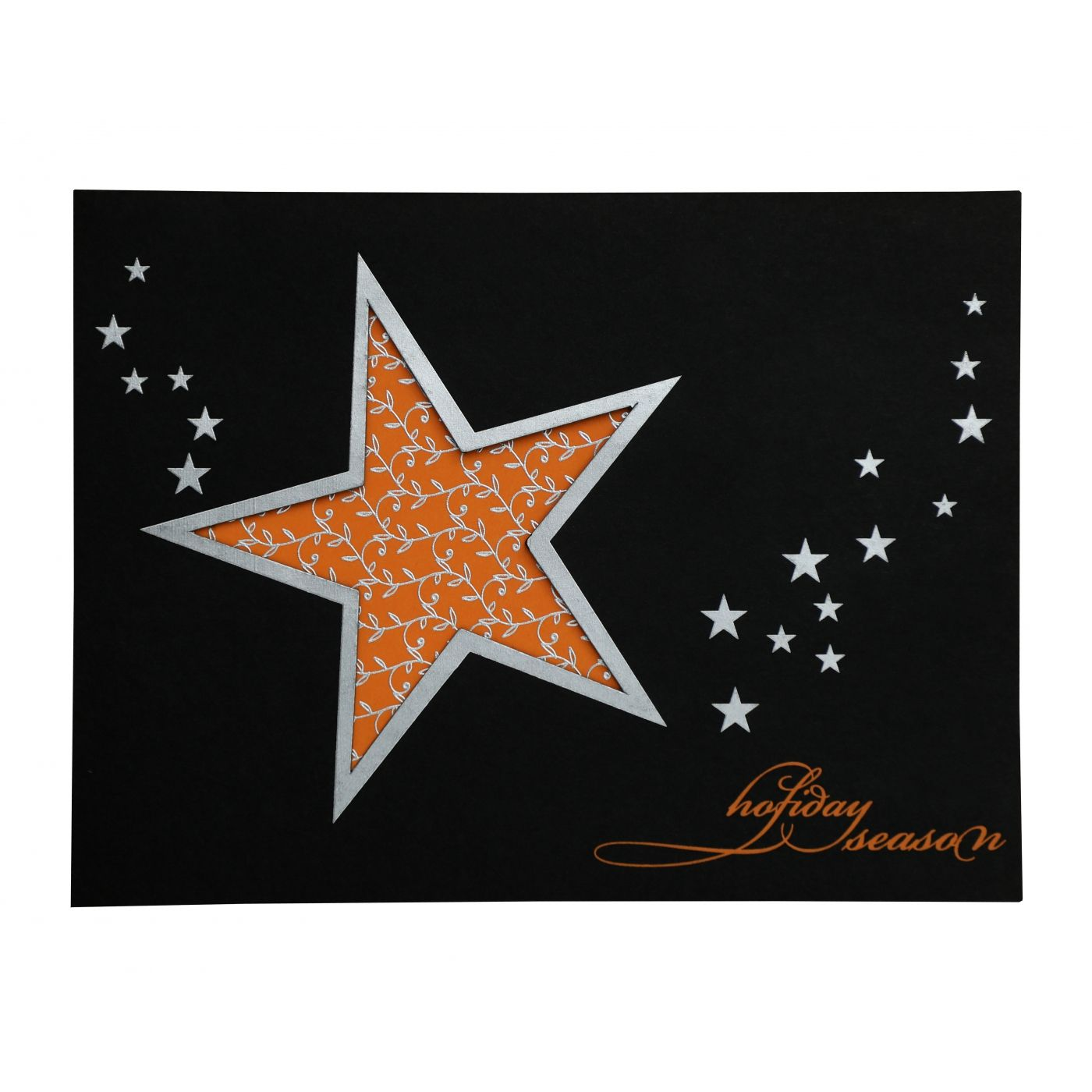 BLACK ORANGE MATTE PAISLEY THEMED - SCREEN PRINTED HOLIDAY CARDS : CH-870 - IndianWeddingCards