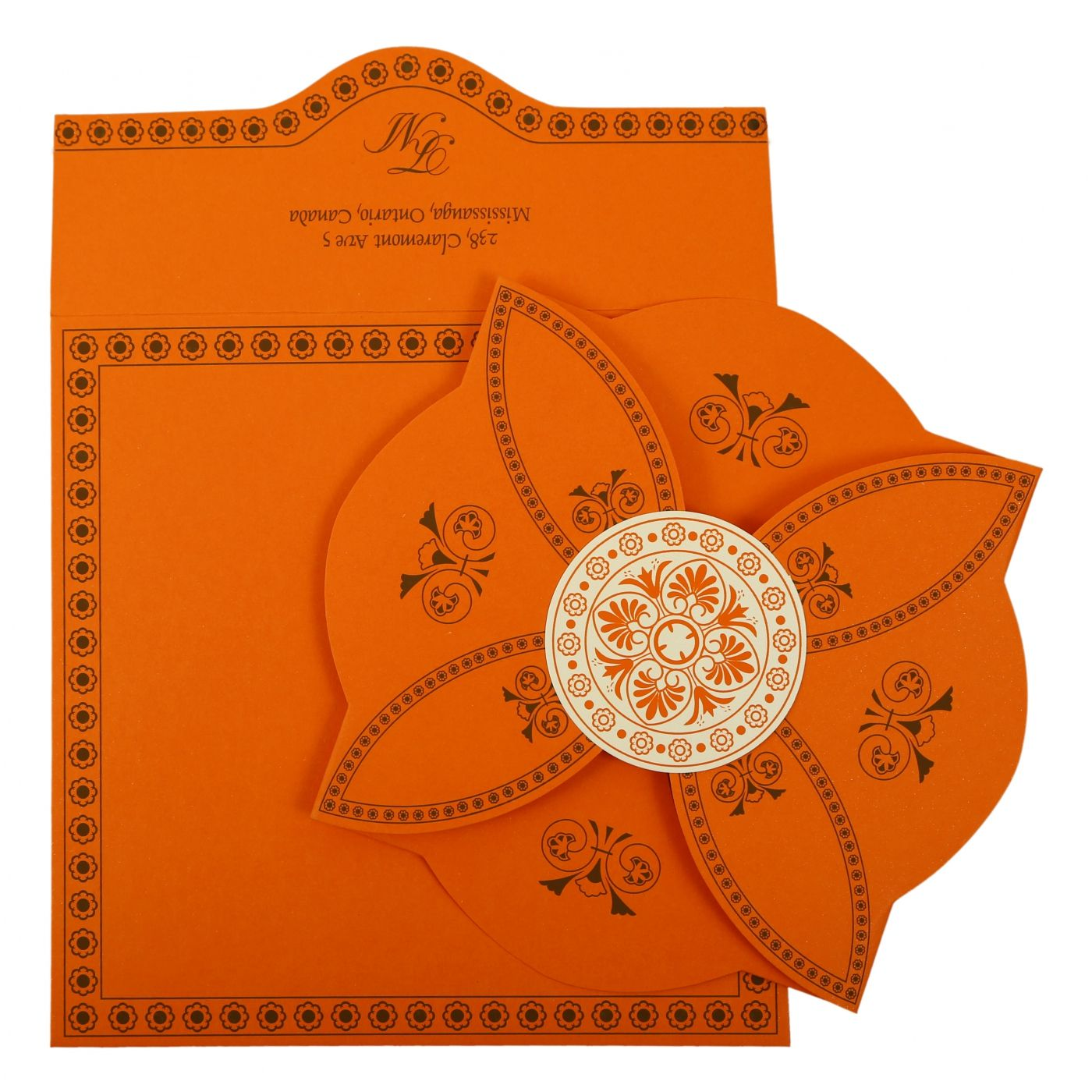 ORANGE BUTTERFLY THEMED - SCREEN PRINTED WEDDING INVITATION : CI-820A - IndianWeddingCards