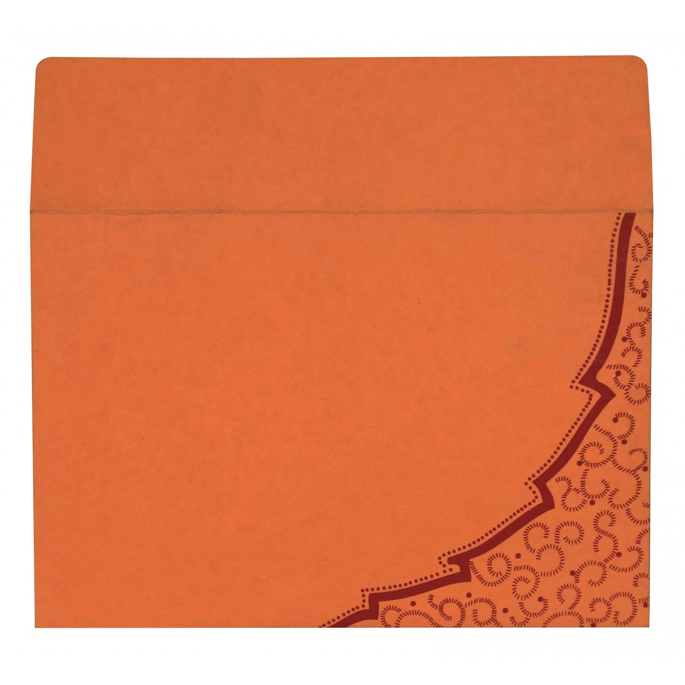 ORANGE HANDMADE COTTON FLORAL THEMED - FOIL STAMPED WEDDING CARD : CW-8219B - IndianWeddingCards