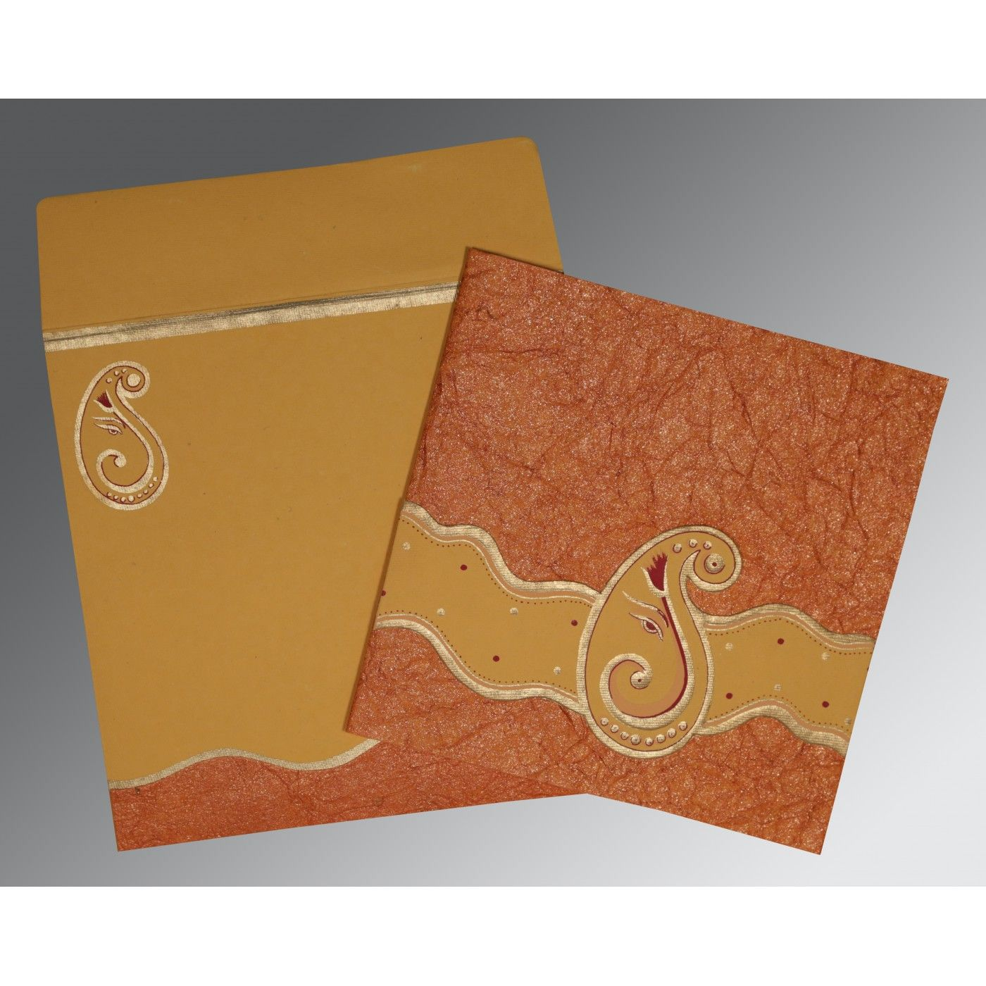DARK RED ORANGE HANDMADE SHIMMER EMBOSSED WEDDING CARD : CIN-2248 - IndianWeddingCards