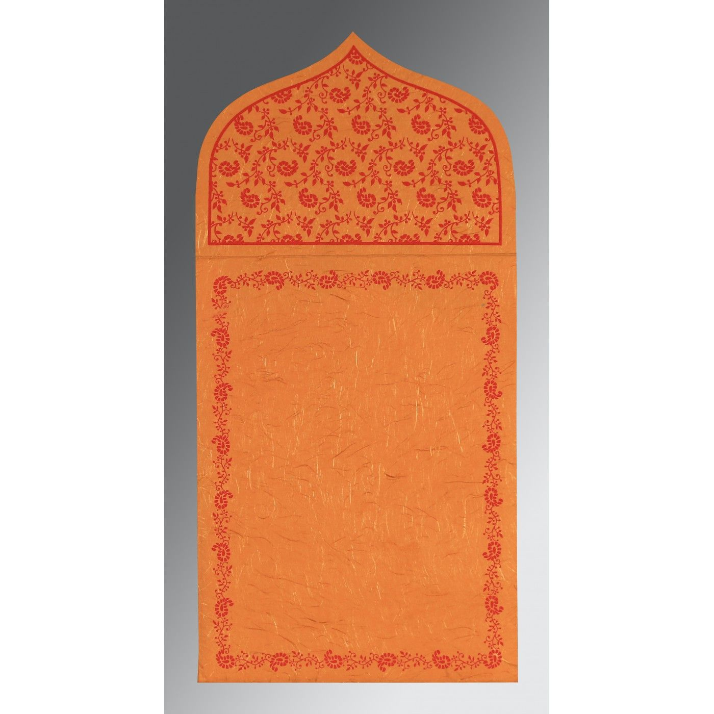 BURNT ORANGE HANDMADE SILK PAISLEY THEMED - GLITTER WEDDING INVITATION : CIN-8208G - IndianWeddingCards