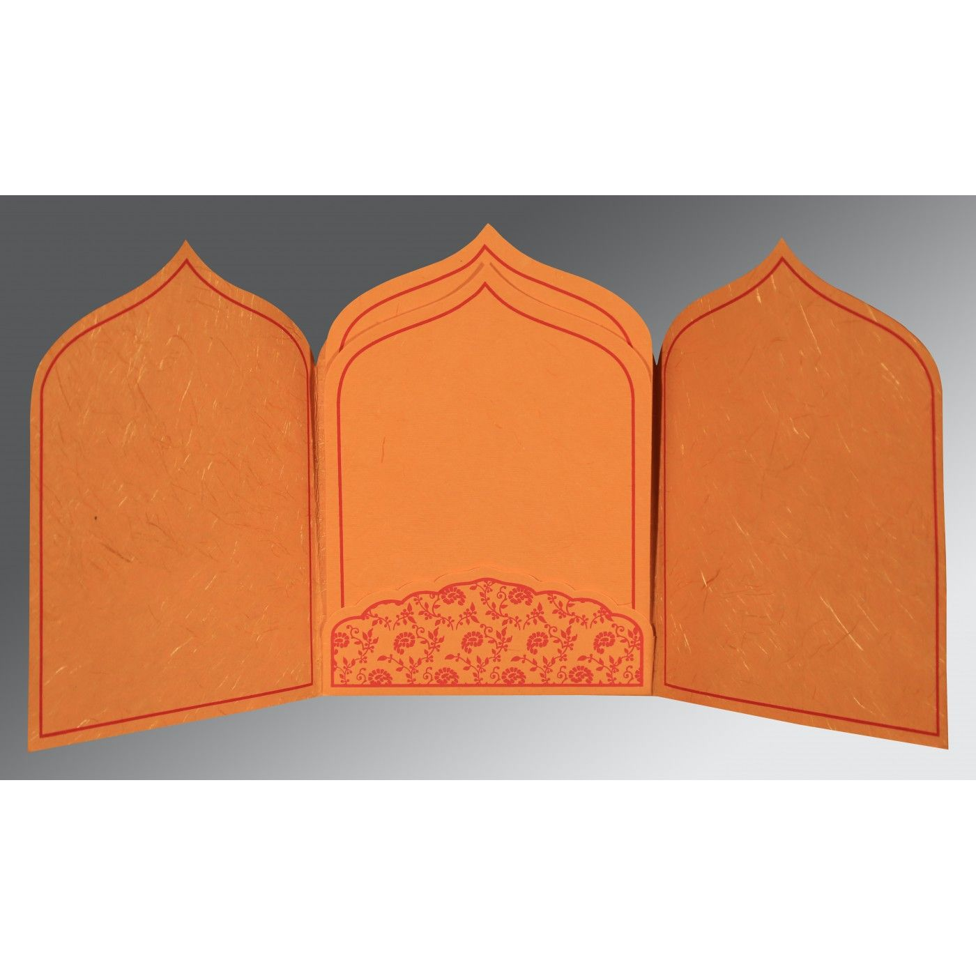 BURNT ORANGE HANDMADE SILK PAISLEY THEMED - GLITTER WEDDING INVITATION : CS-8208G - IndianWeddingCards