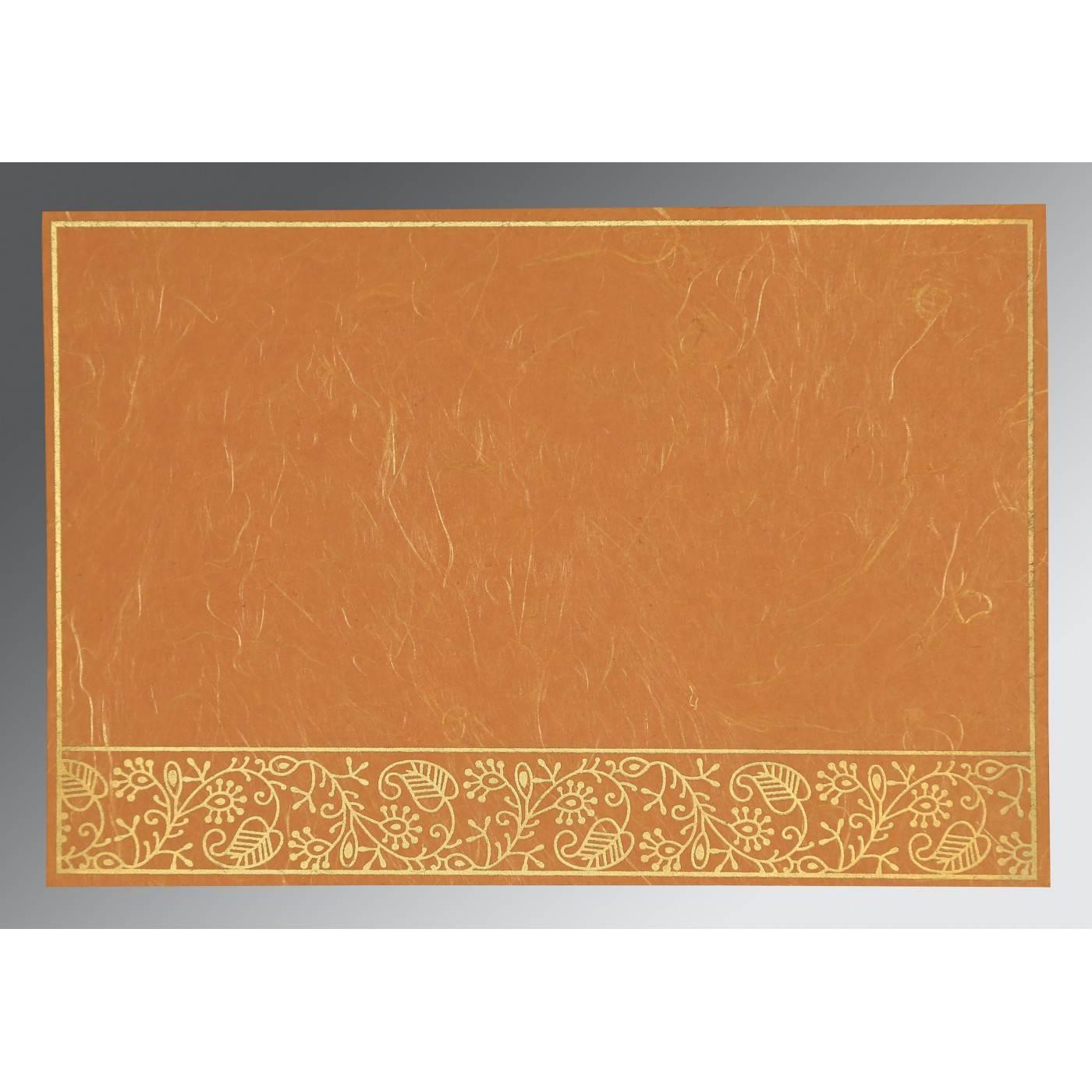 BURNT ORANGE HANDMADE SILK SCREEN PRINTED WEDDING CARD : CG-8215L - IndianWeddingCards