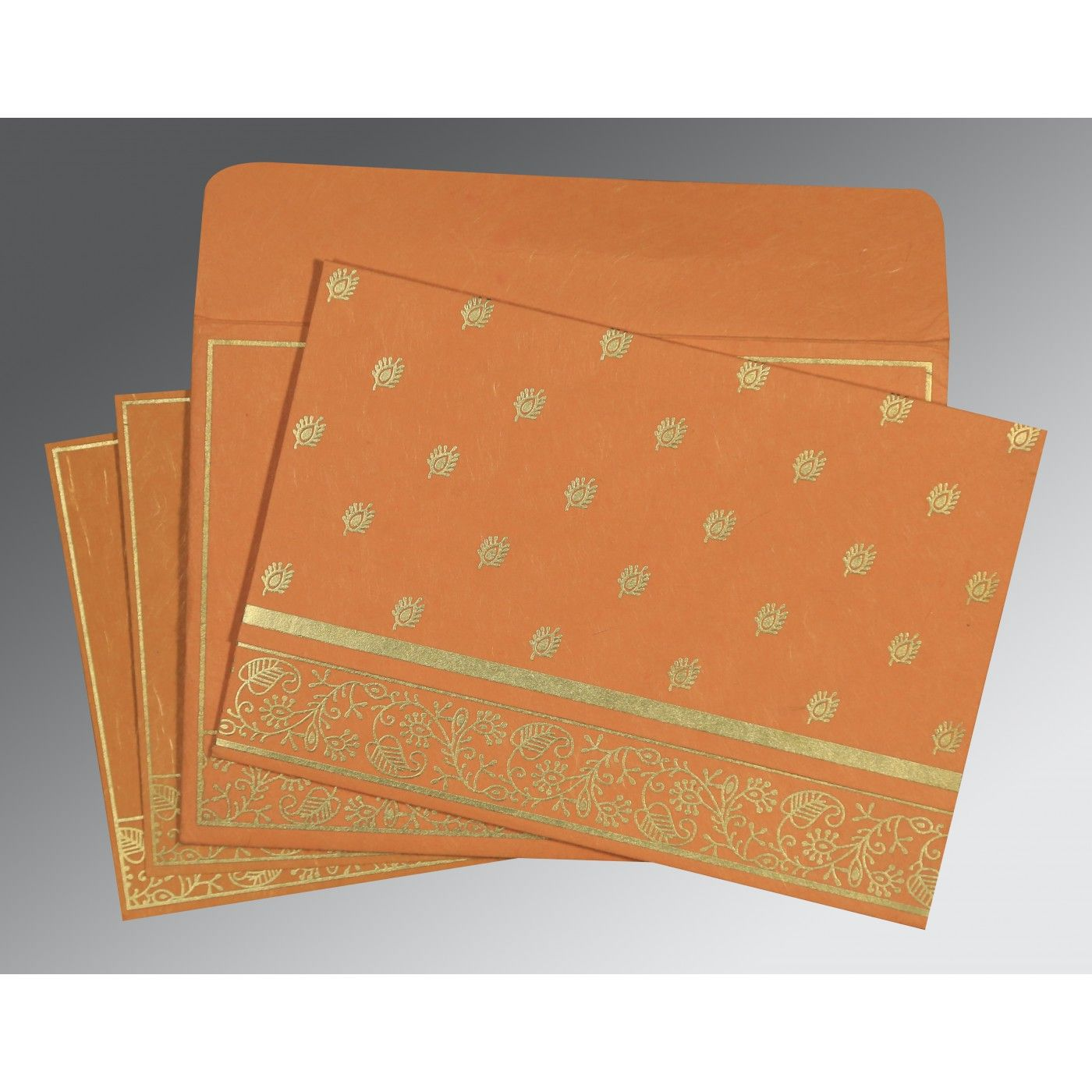 BURNT ORANGE HANDMADE SILK SCREEN PRINTED WEDDING CARD : CI-8215L - IndianWeddingCards