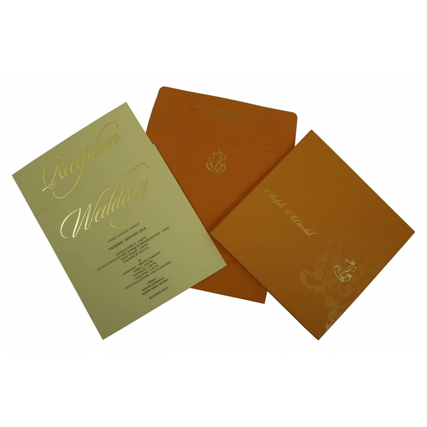 COPPER MATTE BOX THEMED - SCREEN PRINTED WEDDING INVITATION : CS-1831 - IndianWeddingCards