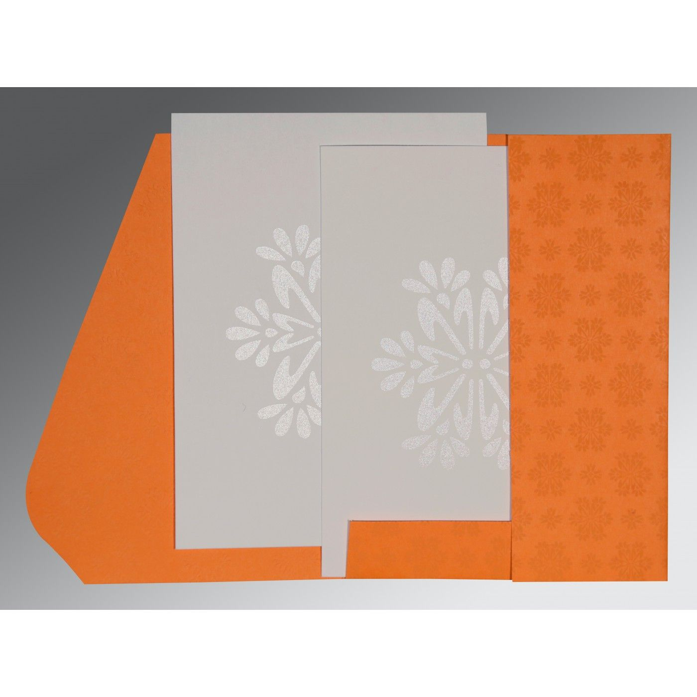 RAW SIENNA MATTE FLORAL THEMED - FOIL STAMPED WEDDING INVITATION : CIN-8237K - IndianWeddingCards