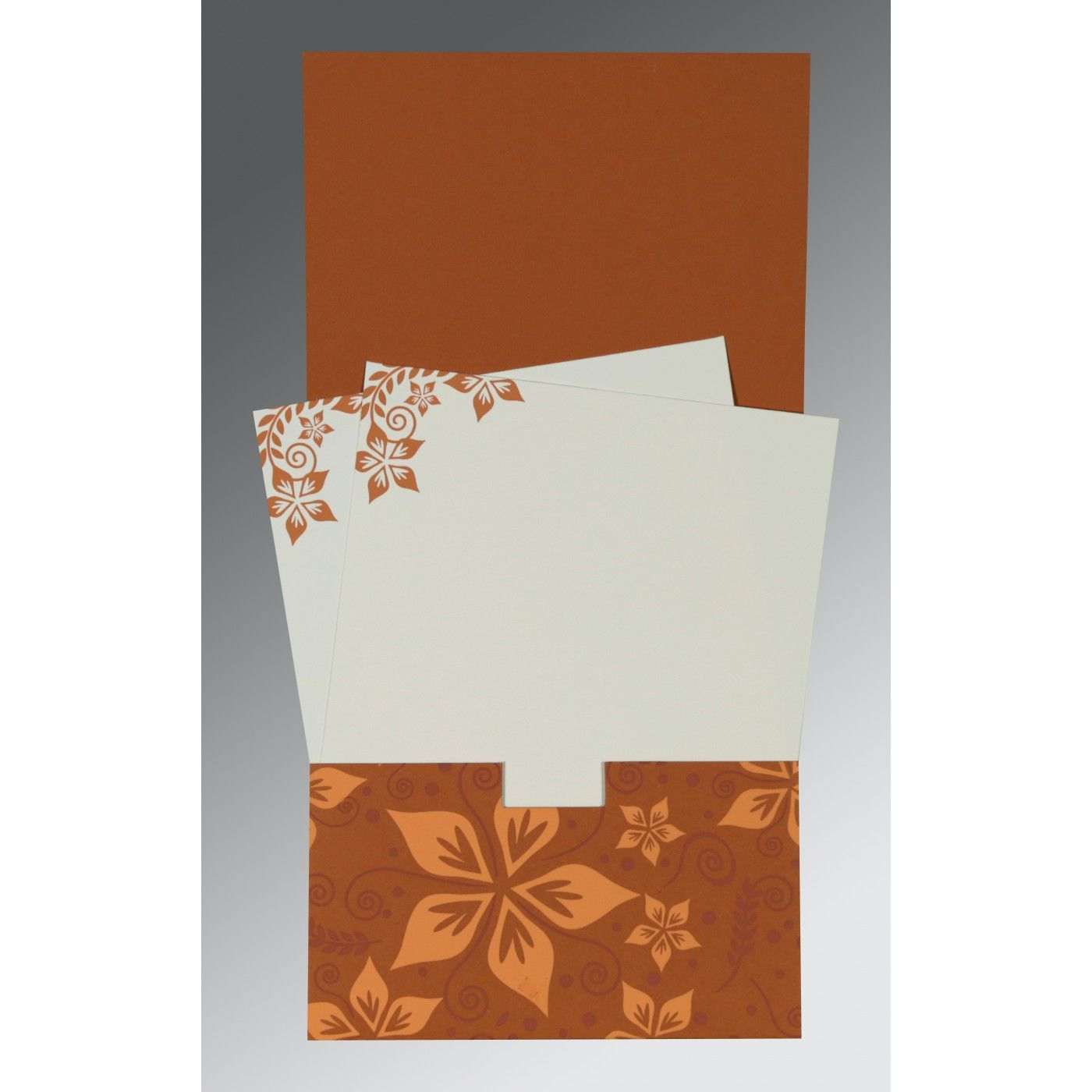 BROWN MATTE FLORAL THEMED - SCREEN PRINTED WEDDING INVITATION : CG-8240L - IndianWeddingCards