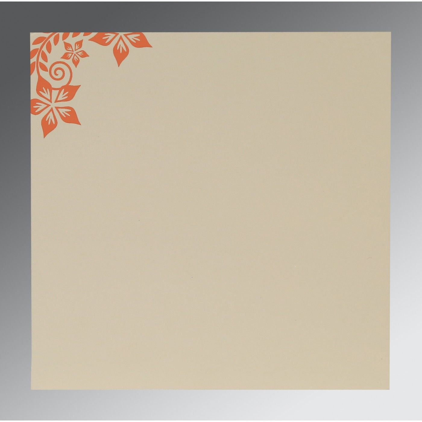 ORANGE MATTE FLORAL THEMED - SCREEN PRINTED WEDDING INVITATION : CG-8240M - IndianWeddingCards