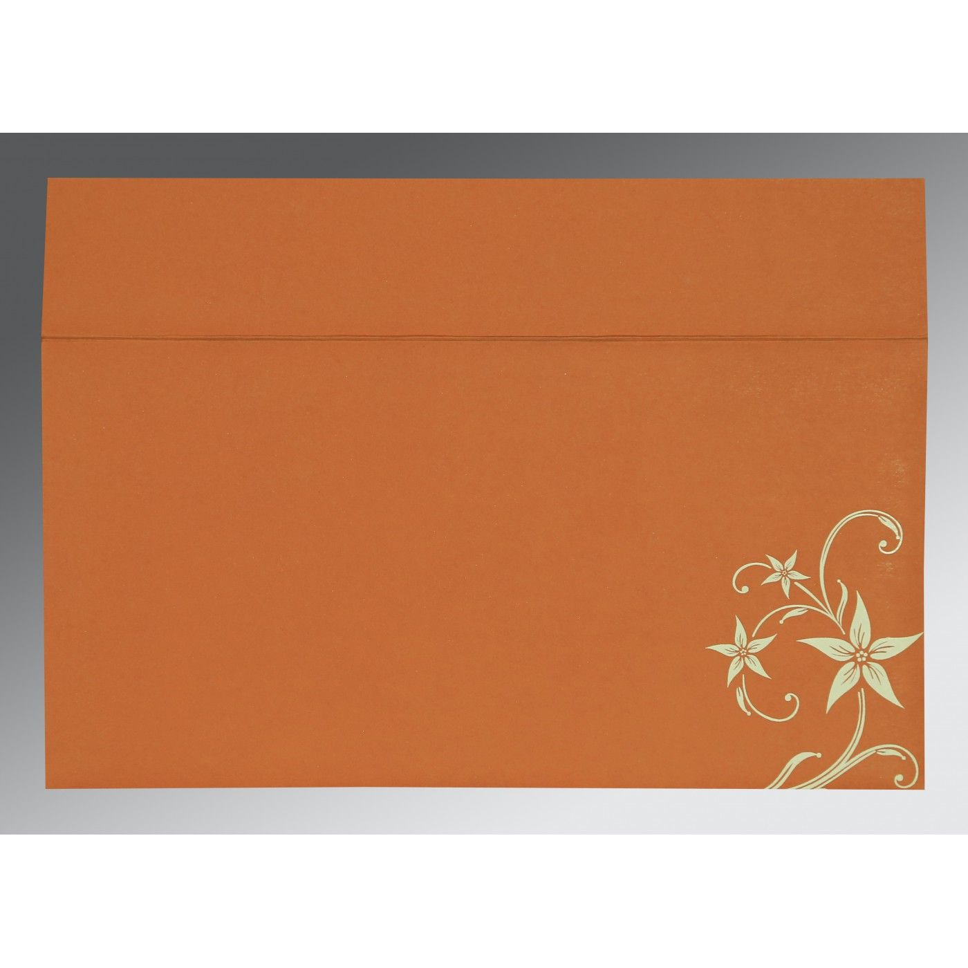 BURNT ORANGE MATTE FLORAL THEMED - SCREEN PRINTED WEDDING INVITATION : CI-8225J - IndianWeddingCards