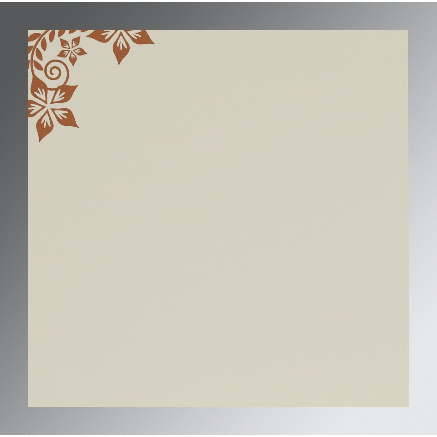 BROWN MATTE FLORAL THEMED - SCREEN PRINTED WEDDING INVITATION : CRU-8240L - IndianWeddingCards