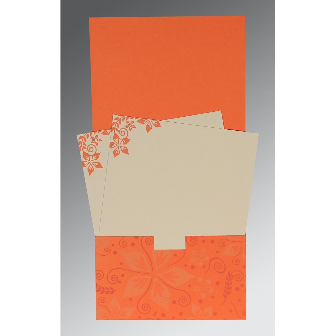 ORANGE MATTE FLORAL THEMED - SCREEN PRINTED WEDDING INVITATION : CRU-8240M - IndianWeddingCards