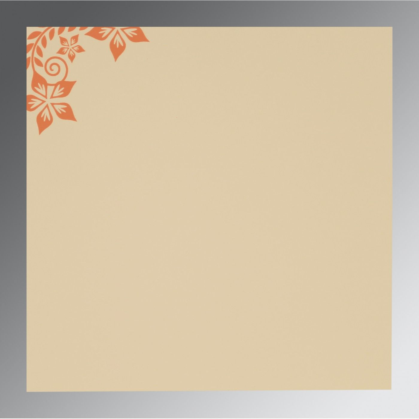 BURNT ORANGE MATTE FLORAL THEMED - SCREEN PRINTED WEDDING INVITATION : CS-8240K - IndianWeddingCards