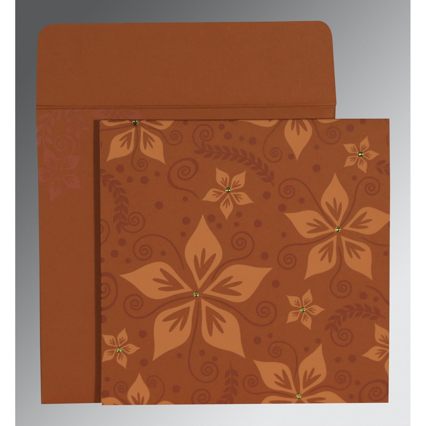 BROWN MATTE FLORAL THEMED - SCREEN PRINTED WEDDING INVITATION : CS-8240L - IndianWeddingCards